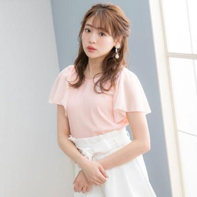 ユメテンボウ 夢展望 シフォンフレア袖トップス (ピンク)