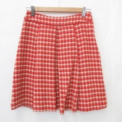 【中古】アンタイトル UNTITLED スカート フレアスカート ひざ丈 タック 千鳥柄 ウール 赤 白 レッド ホワイト 1