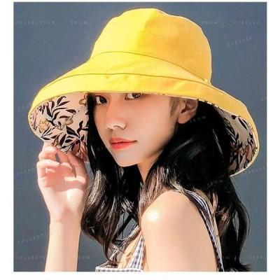 帽子レディース紫外線対策折りたたみ帽子あご紐付き両面着小顔効果きれい