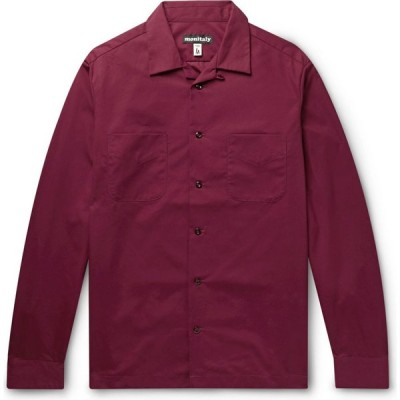 モニタリー MONITALY メンズ シャツ トップス Solid Color Shirt Maroon