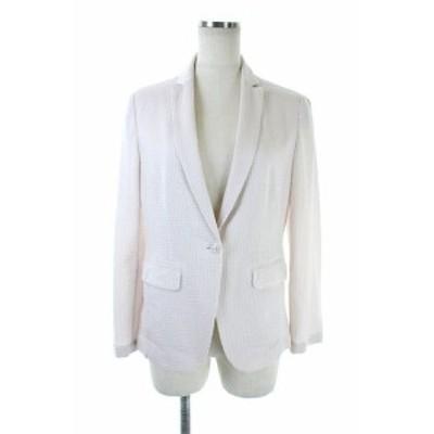 【中古】トゥモローランドコレクション ストライプテーラードジャケット 薄手 36 ピンク /AO ■OS レディース