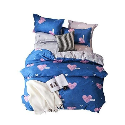 BeddingWish 布団カバーセット ダブル4点セット 掛け布団カバーセット ボックスシーツ 枕カバー 寝具カバーセット 北欧風 肌にや