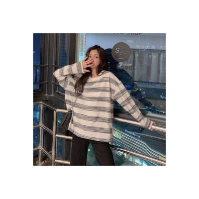 【送料無料】アーリー 秋 年 韓国風 ストライプス 丸襟 長袖Tシャツ 女 ルース | 346770_A63554-6684018