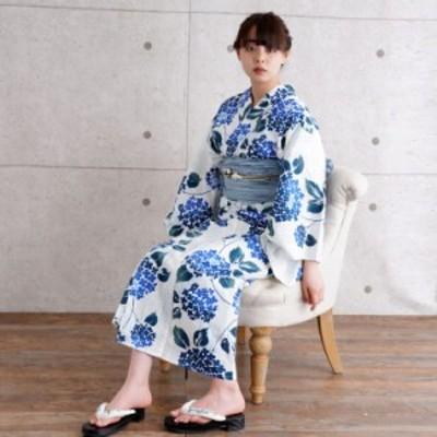 浴衣 3点 セット(浴衣/帯/下駄)水色 青 ブルー 青緑 あじさい ストライプ 縞 浴衣セット ゆかた 女性 レディース レトロ 大正