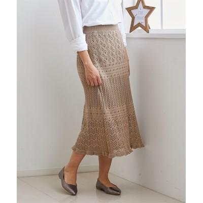 小さいサイズ 透かし切替スカート 【小さいサイズ・小柄・プチ】ロング丈・マキシ丈スカート, Skirts