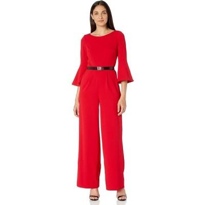 Calvin Klein Women's Three Quarter Bell Sleeve Belted Jumpsuit