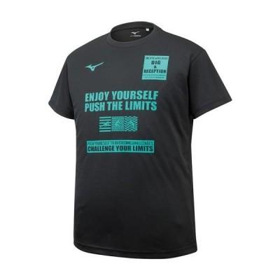 セール ミズノ (V2MA908609) グラフィックTシャツ半袖(ユニセックス) ブラック (K)