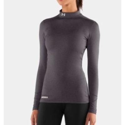 アンダーアーマー レディース ロンT Under Armour ColdGear Authentic Mock Long Sleeve Shirt Tシャツ 長袖 Carbon Heather / Metal