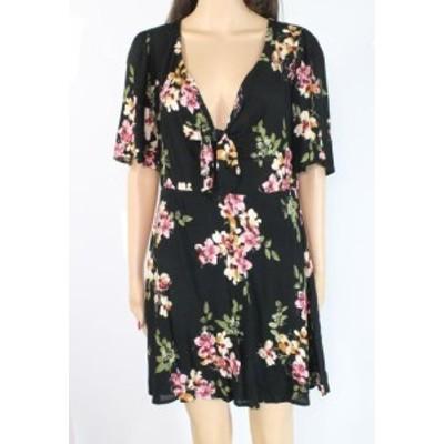 ファッション ドレス Socialite Womens Black Size Medium M Floral Front Tie Sheath Dress