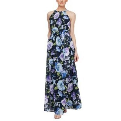 エス エル ファッションズ レディース ワンピース トップス Belted Halter Maxi Dress Navy Floral