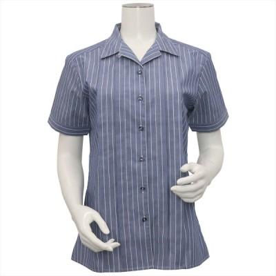 レディース ウィメンズシャツ 半袖 形態安定 デザインシャツ ハマカラー ネイビー×白ストライプ