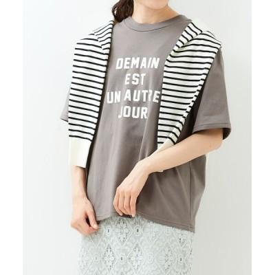 le.coeur blanc/ルクールブラン ロゴプリントTシャツ モカ 38