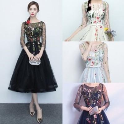 結婚式ドレス パーティドレス シースルー花柄レースブラックドレス a0427