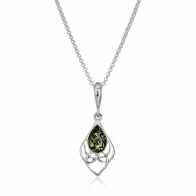"""Green Amber Sterling Silver Celtic Pendant Chain Necklace, 18"""""""