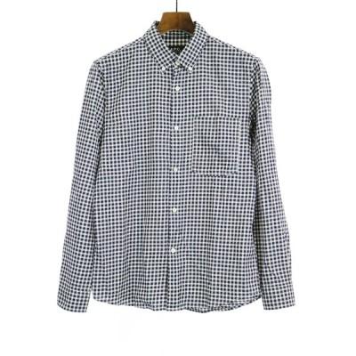 A.P.C アーペーセー チェック柄ボタンダウンシャツ ネイビー XS メンズ