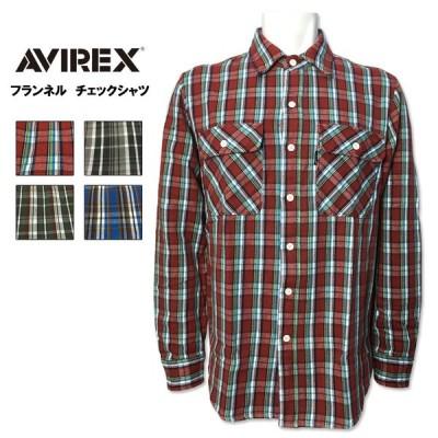 AVIREX(アヴィレックス) アビレックス コットン フランネル チェックシャツ ネルシャツ レッド グレー オリーブ ブルー 6195127