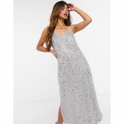 ヴェロモーダ Vero Moda レディース ワンピース キャミワンピ ワンピース・ドレス sequin midi cami dress with side split in silver ス