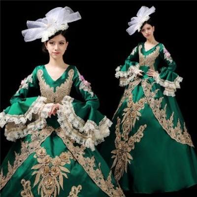 d9282c0 ゴールド刺繍が豪華な中世貴族風お姫様ドレス カラードレス ロング丈のプリンセス ロングドレス 舞台衣装やステージ衣装