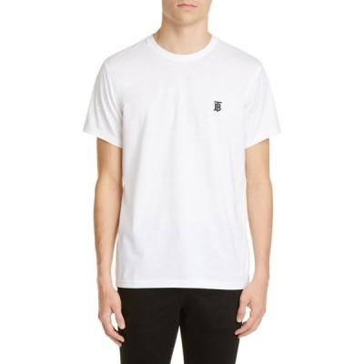 バーバリー BURBERRY メンズ Tシャツ トップス Parker Embroidered Logo T-Shirt White