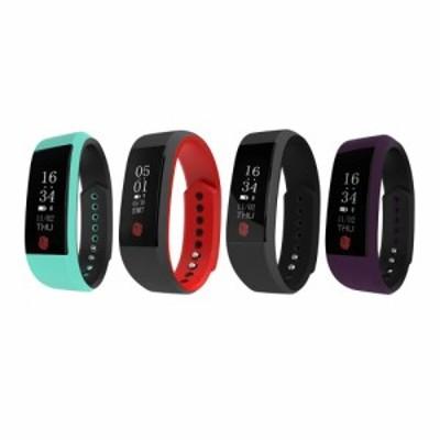 0.91インチ OLED Bluetooth スマートスポーツウオッチ 歩数計 着信通知 スリープモニター アンチロ