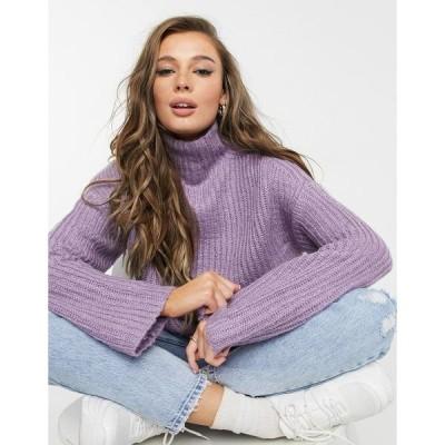 ヴァイオレット ロマンス レディース ニット&セーター アウター Violet Romance high neck chunky sweater in lilac Lilac