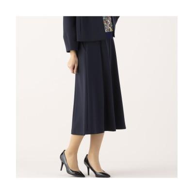(Liliane Burty ECLAT/リリアンビューティエクラ)ダブルクロス フレアースカート 【セットアップ可】/レディース ダークブルー