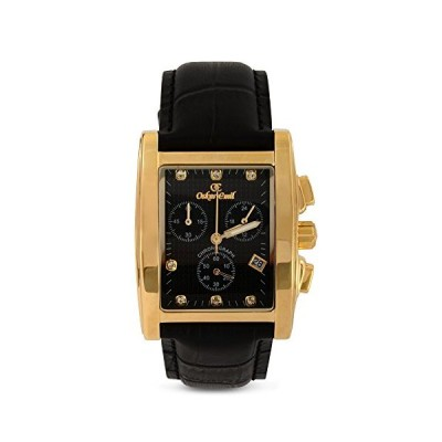 Oskar Emil Men's Quartz Watch with Black Dial Chronograph Display and Black Leather Strap Rodez Gold/Black 並行輸入品