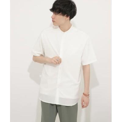 (SENSE OF PLACE by URBAN RESEARCH/センスオブプレイス バイ アーバンリサーチ)バンドカラーシャツ(5分袖)/メンズ WHITE