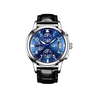 ビジネスメンズウォッチクォーツミリタリースポーツファッションラグジュアリートップブランド防水レザー腕時計 42mm Blue Dial Black L