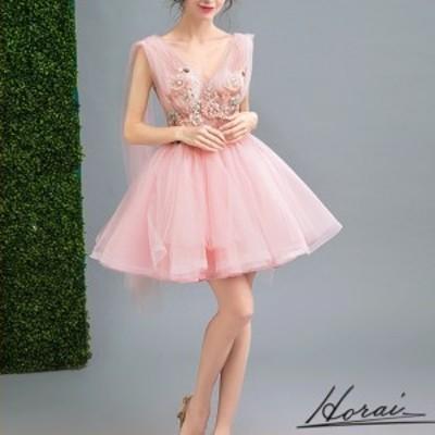 ウェディングドレス ノースリーブ ミニ丈 レース 花装飾  ドレス 結婚式 二次会 20代 30代 40代 【お取り寄せ】