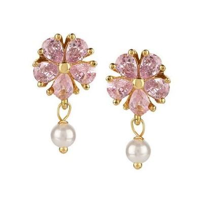 Efulgenz Gold Tone Hypoallergenic Floral Cubic Zirconia Pearl Drop Stud Earrings Pierced Jewelry for Women Girls Brides Bridesmaid