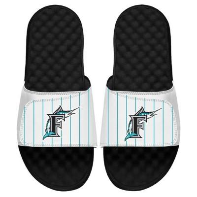 アイスライド サンダル シューズ メンズ Florida Marlins ISlide Cooperstown Logo Slide Sandals White