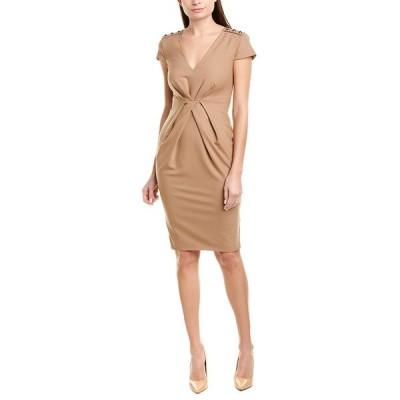 ピンコ ワンピース トップス レディース PINKO Pleated Wool-Blend Sheath Dress brown