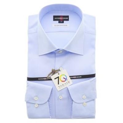 【70周年記念】綿100%120双 レギュラーフィット ワイドカラー長袖ビジネスドレスシャツ/ワイシャツ