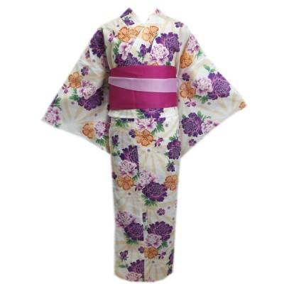 浴衣 トール ふくよかさん 長尺 半巾帯 2点セット 女性用 LL 3L 4L 白ベージュ麻葉地紫牡丹金魚撫子