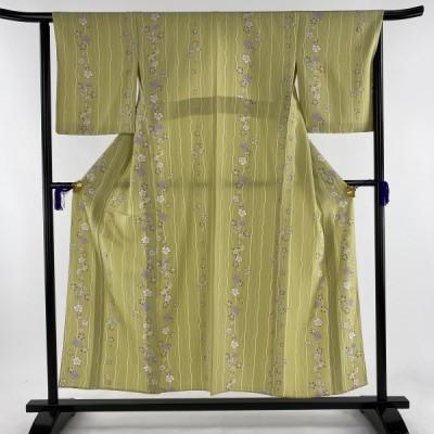 小紋 美品 秀品 桜 よろけ縞 ちりめん 抹茶色 単衣 身丈154cm 裄丈63.5cm S 正絹 中古 PK30