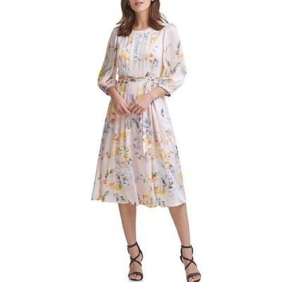 ダナ キャラン ニューヨーク レディース ワンピース トップス Floral Pleated Chiffon Belted Jewel Neck Dress