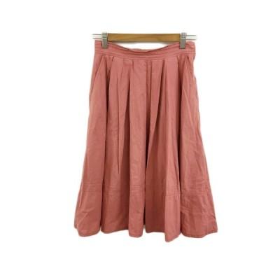 【中古】マルティニーク martinique スカート フレア ひざ丈 タック 1 ピンク レディース 【ベクトル 古着】