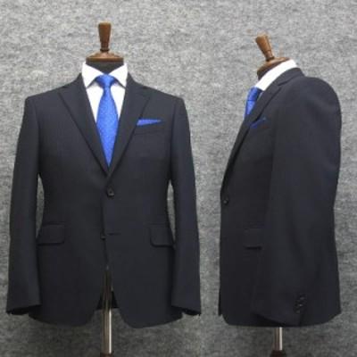 スタイリッシュ2釦スーツ 紺系/千鳥格子 ストレッチ素材 [AB体] 秋冬物 総裏地 メンズスーツ A10508