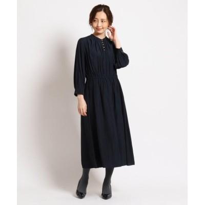 (SunaUna/スーナウーナ)【洗える】ボタンギャザーワンピース/レディース ネイビー(093)