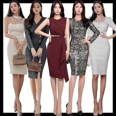 韓国ファッション OL正式な場合礼装ドレスセクシーなワンピース一字肩二点セット/ 結婚式