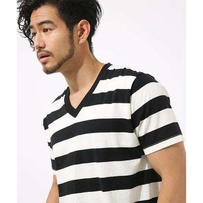 tシャツ Tシャツ 天竺ボーダーVネック半袖T