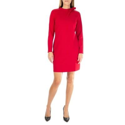 ニナレオナルド レディース ワンピース トップス Long Sleeve High Tie Neck Dress NINA RED