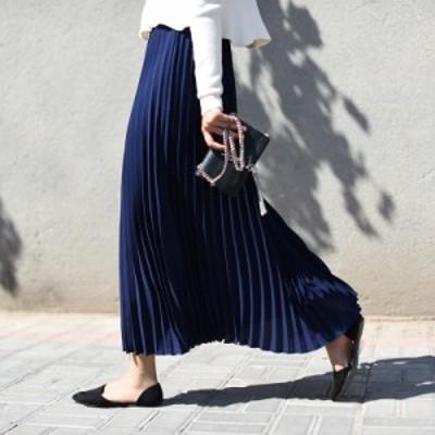スカート ロングスカート  レディース フレアスカート プリーツ 柔らかい ふんわり 着心地 ゆったり シンプル  女性らしい