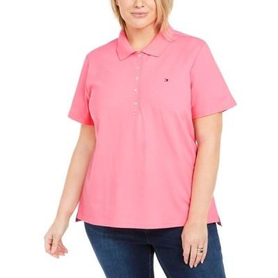 トミー ヒルフィガー カットソー トップス レディース Plus Size Piqué Polo Shirt, Created for Macy's Pink