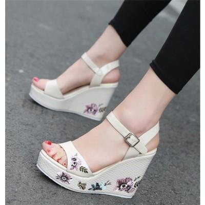サンダル レディース ウエッジソール 夏 厚底 靴 ミュール 女性 美脚 おしゃれ 通勤 歩きやすい 20代 30代 40代 2019 夏