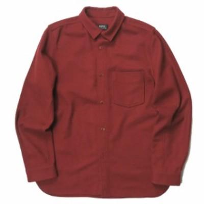 A.P.C. アーペーセー 17AW フランネルウールショートカラーシャツ 24176-1-75411 M ボルドー 長袖 ポケット トップス