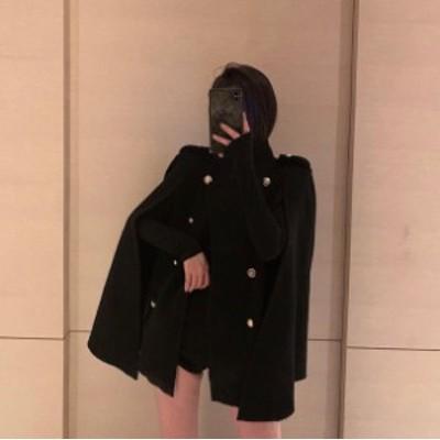 韓国 ファッション レディース ポンチョ マントコート アウター ゆったり 無地 大人可愛い きれいめ エレガント 秋冬