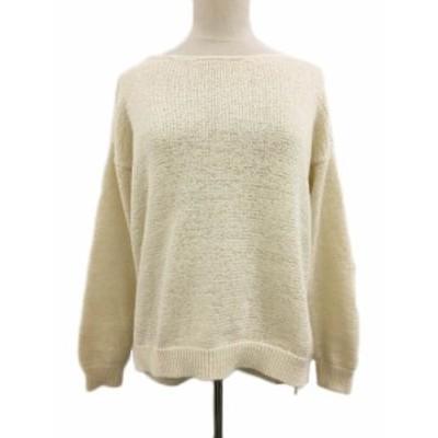【中古】リエミラー Rie Miller セーター ニット ボートネック 無地 長袖 38 白 ベージュ ホワイト レディース