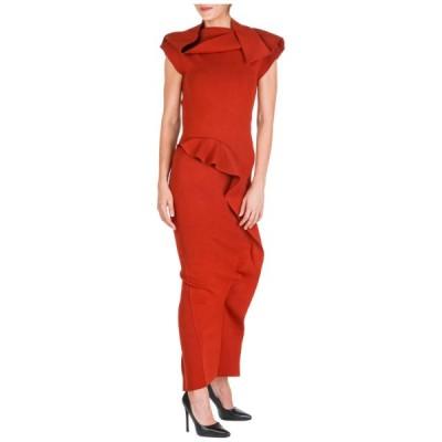 ドレス リックオウエンス RICK OWENS WOMEN'S LONG GOWN PROM EVENING CEREMONY FORMAL DRESS NEW RED 880